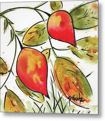 Metal Print featuring the painting Rosehips In Autumn by Pat Katz