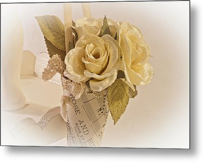Roses And Butterfly Posy  Metal Print by Sandra Foster