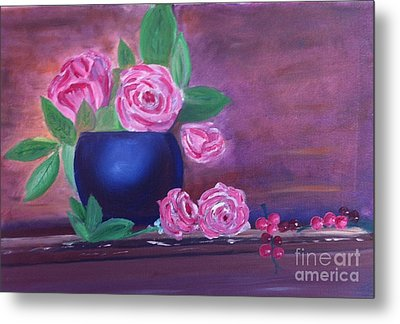Metal Print featuring the painting Roses And Grapes by Rod Jellison