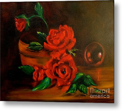 Metal Print featuring the painting Roses Are Red by Jenny Lee
