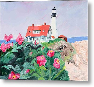 Roses At Portland Headlight Metal Print by Stella Sherman
