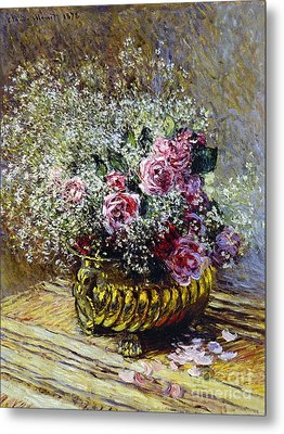 Roses In A Copper Vase Metal Print