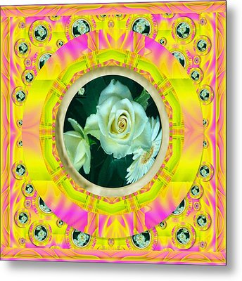 Roses In Rainbows Make Us Happy Metal Print by Pepita Selles