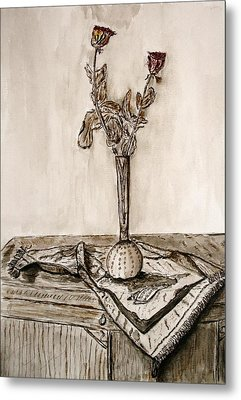 Roses In Sepia. Metal Print