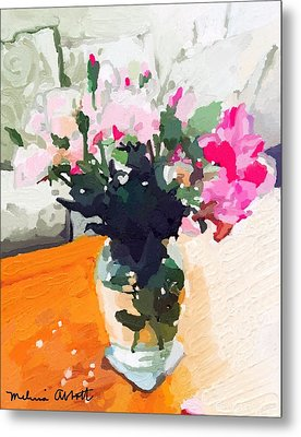 Roses In The Living Room Metal Print