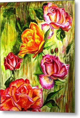 Metal Print featuring the painting Roses In The Valley  by Harsh Malik