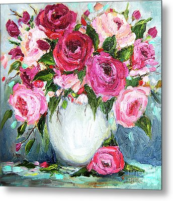 Metal Print featuring the painting Roses In Vase by Jennifer Beaudet