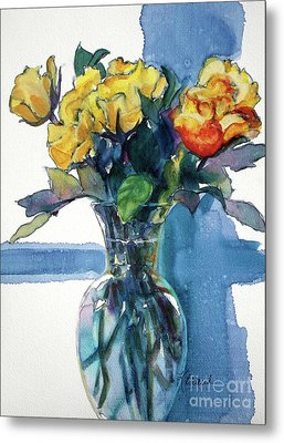 Roses In Vase Still Life I Metal Print