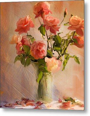 Roses La Belle Metal Print