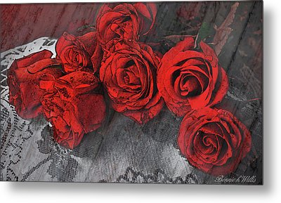 Metal Print featuring the photograph Roses On Lace by Bonnie Willis