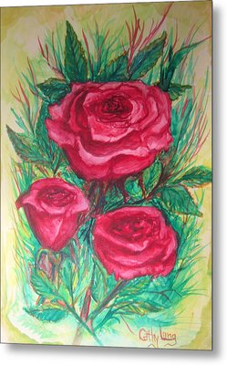 Roses Three Metal Print by Cathy Long