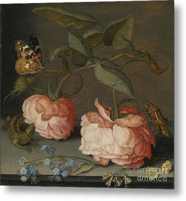 Roses With A Butterfly And A Grasshopper Metal Print by Celestial Images