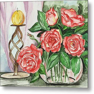 Roses With Candle Stand  Metal Print by Pushpa Sharma