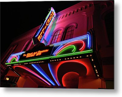 Roseville Theater Neon Sign Metal Print