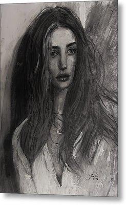 Metal Print featuring the painting Rosie Huntington-whiteley by Jarko Aka Lui Grande