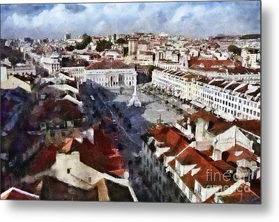Metal Print featuring the photograph Rossio Square by Dariusz Gudowicz