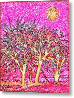 Metal Print featuring the digital art Rosy Hued Trees - Boulder County Colorado by Joel Bruce Wallach