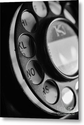 Rotary Dial In Black And White Metal Print by Mark Miller