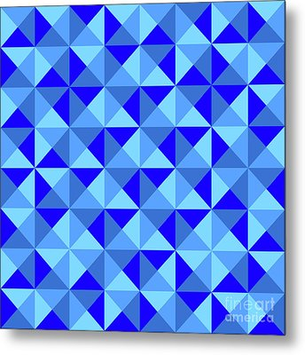 Rotated Blue Triangles Metal Print