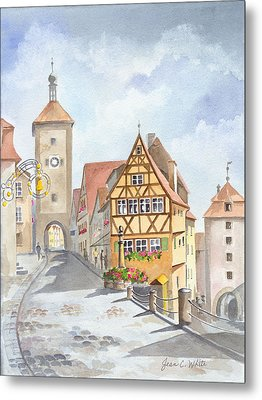 Rothenburg In Germany Metal Print by Jean White
