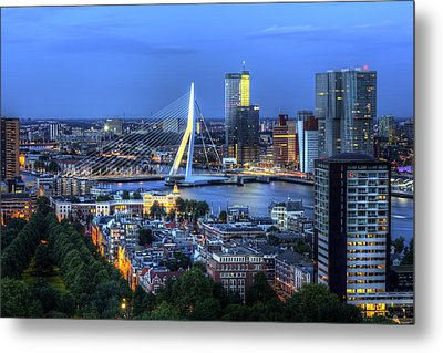 Metal Print featuring the photograph Rotterdam Skyline With Erasmus Bridge by Shawn Everhart