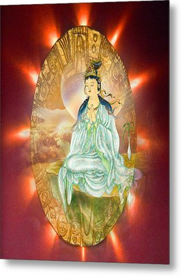 Round Halo Kuan Yin Metal Print by Lanjee Chee