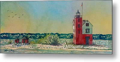 Metal Print featuring the painting Round Island Lighthouse by LeAnne Sowa