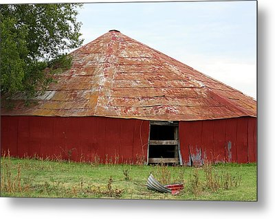 Metal Print featuring the photograph Round Red Barn by Sheila Brown