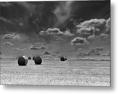 Round Straw Bales Landscape Metal Print by John Williams