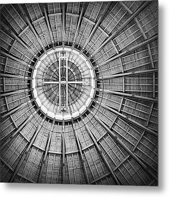 Roundhouse Architecture - Black And White Metal Print