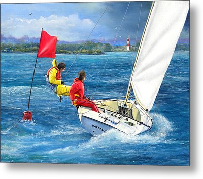 Rounding The Mark Metal Print by Richard Barone