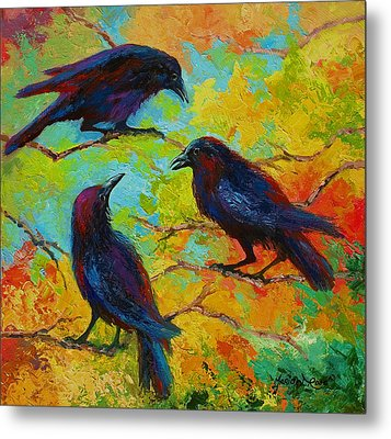 Roundtable Discussion - Crows Metal Print by Marion Rose