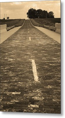 Metal Print featuring the photograph Route 66 - Brick Highway 2 Sepia by Frank Romeo