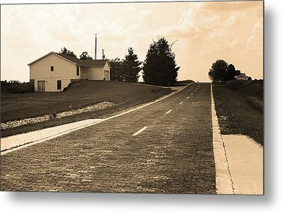 Metal Print featuring the photograph Route 66 - Brick Highway Sepia by Frank Romeo