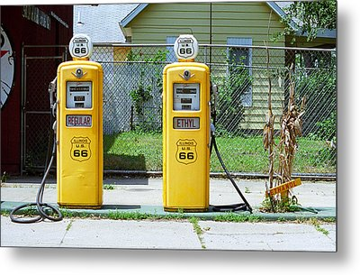 Route 66 - Illinois Gas Pumps Metal Print by Frank Romeo