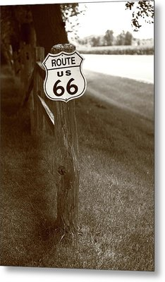 Metal Print featuring the photograph Route 66 Shield And Fence Sepia Post by Frank Romeo
