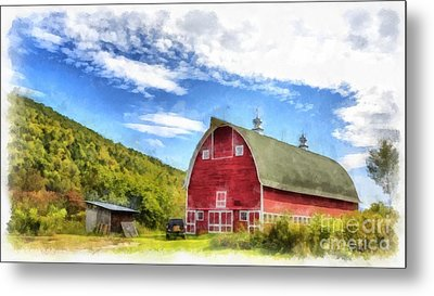 Route Vermont Red Barn Metal Print by Edward Fielding
