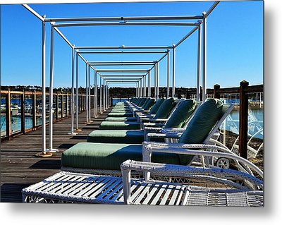 Row Of Beach Chairs Metal Print by Alex Schindel