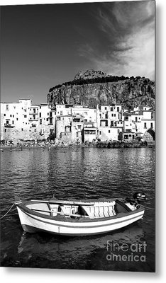 Rowboat Along An Idyllic Sicilian Village. Metal Print by Stefano Senise