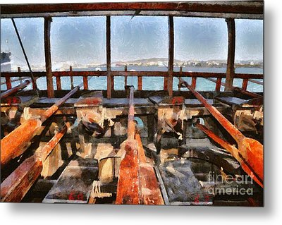Rowers Space Of An Ancient Trireme Metal Print by George Atsametakis