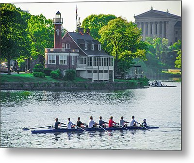 Metal Print featuring the photograph Rowing Crew In Philadelphia In The Spring by Bill Cannon
