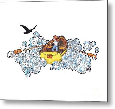 Rowing Down Cloud River Metal Print by Michael Ciccotello
