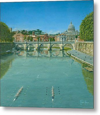 Rowing On The Tiber Rome Metal Print by Richard Harpum