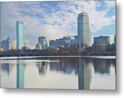 Rowing The Charles River - Boston Massachusetts Metal Print by Bill Cannon