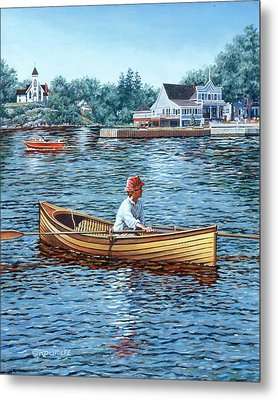 Rowing To Rockport Metal Print by Richard De Wolfe