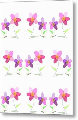 Rows Of Flowers Metal Print