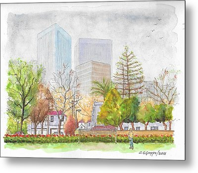 Roxbury Park In Beverly Hills With Century City In The Background, Ca Metal Print by Carlos G Groppa