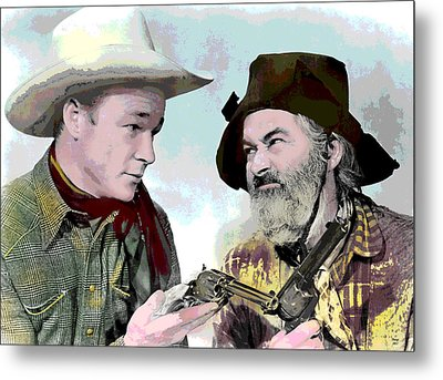 Roy Rogers And Gabby Hayes Metal Print by Charles Shoup