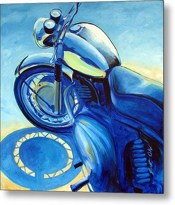 Royal Enfield Metal Print by Janet Oh