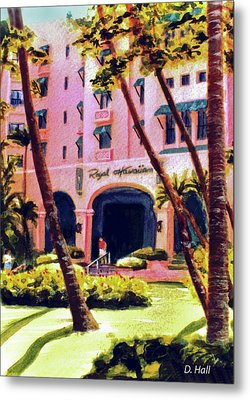 Royal Hawaiian Hotel On Waikiki Beach #131 Metal Print by Donald k Hall